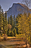 Half Dome in the springtime. The Merced River is in the foreground.