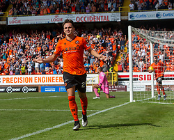 Dundee United's Lawrence Shankland cele scoring their third goal. Dundee United 4 v 1 Inverness Caledonian Thistle, first Scottish Championship game of season 2019-2020, played 3/8/2019 at Tannadice Park, Dundee.