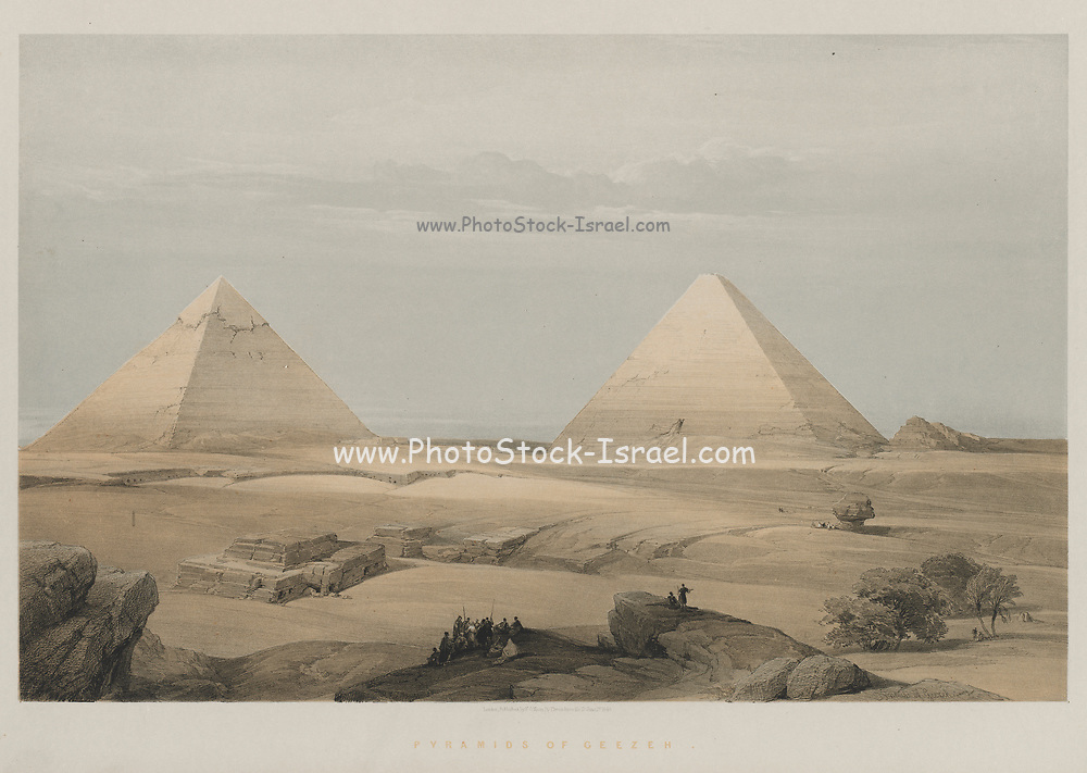 Pyramids of Geezeh 1848 Color lithograph by David Roberts (1796-1864). An engraving reprint by Louis Haghe was published in a the book 'The Holy Land, Syria, Idumea, Arabia, Egypt and Nubia. in 1855 by D. Appleton & Co., 346 & 348 Broadway in New York.
