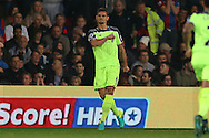 Dejan Lovren of Liverpool celebrates after scoring his sides 2nd goal to make it 1-2.  Premier League match, Crystal Palace v Liverpool at Selhurst Park in London on Saturday 29th October 2016.<br /> pic by John Patrick Fletcher, Andrew Orchard sports photography.