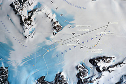 © Licensed to London News Pictures. Union Glacier, Antarctica. A map showing the route of the 9th edition of the Antarctic Ice Marathon. The Ice Marathon took place at Union Glacier, Antarctica, and is  recognised as the world's southernmost marathon and the only official running event within the Antarctic Circle, taking place just a few hundred miles from the South Pole at the foot of the Ellsworth Mountains. Temperatures were an ice cool -21C when the event got underway at 13:10 GMT on Wednesday 20  November. A total of 56 athletes from 21 countries took part in the ninth edition of the event, which is  an essential race for marathon runners seeking to join the Seven Continents Marathon Club. Photo credit: Mike King/LNP