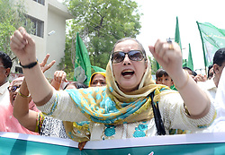 August 2, 2017 - Hyderabad, Sindh, Pakistan - PML_N women shout during the rally in favor of there party leader Nawaz Sharif out side Hyderabad Press Club (Credit Image: © Janali Laghari/Pacific Press via ZUMA Wire)