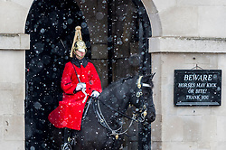 © Licensed to London News Pictures. 09/02/2021. LONDON, UK. A member of the Queen's Life Guard on sentry duty outside Buckingham Palace during light snow flurries as the cold weather brought on by Storm Darcy continues.  Photo credit: Stephen Chung/LNP