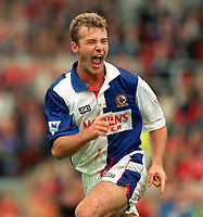 Fotball<br /> England<br /> Foto: Colorsport/Digitalsport<br /> NORWAY ONLY<br /> <br /> Alan Shearer (Blackburn) celebrates his goal. Swindon Town v Blackburn Rovers. 2/10/1993.