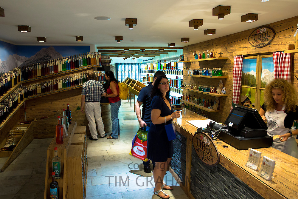 Tirol Geniessen shop selling schnapps and liquors at Hofgasse street  in Innsbruck in the Tyrol, Austria