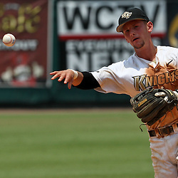 June 03, 2011; Tallahassee, FL, USA;  UCF Knights second baseman Travis Shreve (1) throws to first for an out against the Alabama Crimson Tide in the eighth inning during the 2011 Tallahassee Regional at Dick Howser Stadium. Alabama defeated UCF 5-3. Mandatory Credit: Derick E. Hingle