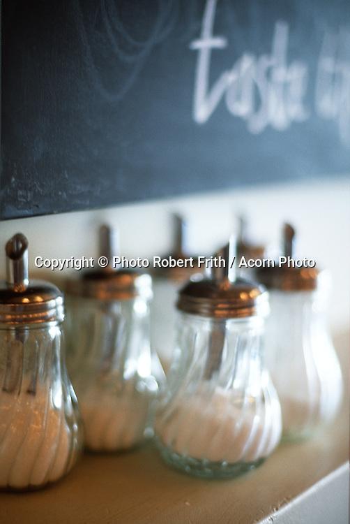Sugar shakers at Monza Restaurant