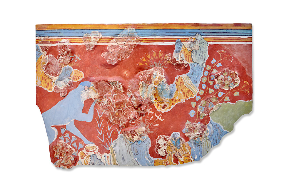 Minoan 'Blue Monkey' wall art fresco from the 'House of Frescoes' Knossos Palace, 1600-1500 BC. Heraklion Archaeological Museum.  White Background. .<br /> <br /> If you prefer to buy from our ALAMY PHOTO LIBRARY  Collection visit : https://www.alamy.com/portfolio/paul-williams-funkystock/minoan-art-artefacts.html . Type -   Heraklion   - into the LOWER SEARCH WITHIN GALLERY box. Refine search by adding background colour, place, museum etc<br /> <br /> Visit our MINOAN ART PHOTO COLLECTIONS for more photos to download  as wall art prints https://funkystock.photoshelter.com/gallery-collection/Ancient-Minoans-Art-Artefacts-Antiquities-Historic-Places-Pictures-Images-of/C0000ricT2SU_M9w