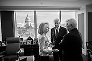 University of Pennsylvania President Amy Gutmann from left, former Vice President Joe Biden and former Connecticut Senator Christopher Dodd talk with each other prior to the ceremony for the official opening of the Penn Biden Center for Diplomacy & Global Engagement in Washington, D.C. on February 8, 2018.