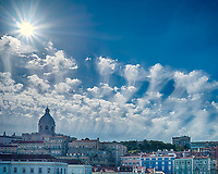 Clouds over Lisbon, Portugal from the deck of the MV Explorer. Composite of images taken with a Leica X2 camera.