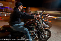 Riding Daytona Beach's Main Street  on this very busy Friday, the day before the official start of the Daytona Bike Week 75th Anniversary event. FL, USA. Friday March 4, 2016.  Photography ©2016 Michael Lichter.