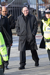 © Licensed to London News Pictures . 16/01/2014 . Salford , UK . SIR HOWARD BERNSTIEN Chief Executive of Manchester City Council arrives at the funeral . The funeral of Labour MP Paul Goggins at Salford Cathedral today (Thursday 16th January 2014) . The MP for Wythenshawe and Sale East died aged 60 on 7th January 2014 after collapsing whilst out running on 30th December 2013 . Photo credit : Joel Goodman/LNP