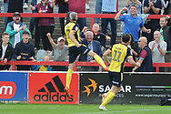 Accrington Stanley Midfielder, Jordan Clark (7) scores to make it 0-1 goal celebration during the EFL Sky Bet League 1 match between Accrington Stanley and Scunthorpe United at the Fraser Eagle Stadium, Accrington, England on 1 September 2018.
