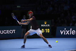 November 16, 2017 - London, England, United Kingdom - Germany's Alexander Zverev returns to US player Jack Sock during their men's singles round-robin match on day five of the ATP World Tour Finals tennis tournament at the O2 Arena in London on November 16 2017. (Credit Image: © Alberto Pezzali/NurPhoto via ZUMA Press)