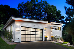 3553 Nelly Curtis Modern Home exterior front with glass garage door VA 2-174-303