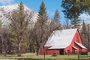 Heart K Barn, Ridge in Snow, Genesee Valley, Sierra Nevada Mountains, California Ranches, Spring, Fruit Trees, Tall Grass, Black Oak, Ponderosa Pine, California Mountains