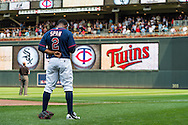 Denard Span #2 of the Minnesota Twins stands during the singing of God Bless America during a game against the Chicago White Sox on September 16, 2012 at Target Field in Minneapolis, Minnesota.  The White Sox defeated the Twins 9 to 2.  Photo: Ben Krause