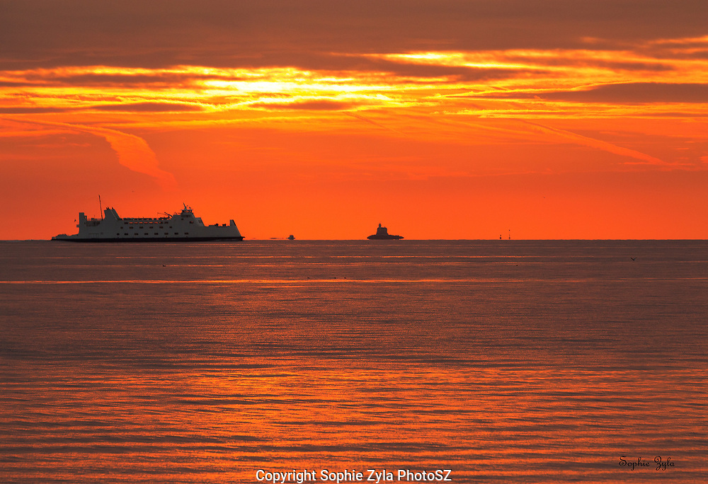 Sunset and Ferry