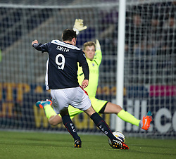 Cowdenbeath's keeper Robbie Thomson saves from Falkirk's David Smith. <br /> Falkirk 1 v 0 Cowdenbeath, William Hill Scottish Cup game played 29/11/2014 at The Falkirk Stadium.