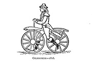 Celeripede 1816 [An early form of the bicycle, consisting of two wheels of equal diameter attached by a wooden bar and lacking either pedals or a means of steering] From Wheels and Wheeling; An indispensable handbook for cyclists, with over two hundred illustrations by Porter, Luther Henry. Published in Boston in  1892