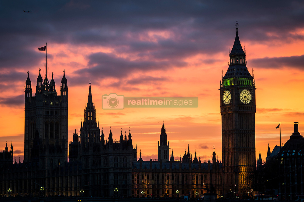 General View of Big Ben clock tower at the Palace of Westminster in London, London.