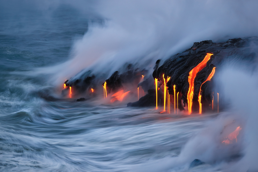 Lava pours into the sea at the Kamokuna ocean entry.