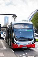 electric bus of the line 133 at a charging station at Breslauer Platz, Cologne, Germany.<br /> <br /> Elektrobus der Linie 133 an einer Ladestation am Breslauer Platz, Koeln, Deutschland.