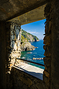 View from the tunnel on the Via dell'Amore (The Way of Love), Riomaggiore, Cinque Terre, Liguria, Italy