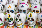 Decorative skulls used to celebrate Day of the Dead Festival known in spanish as Día de Muertos on October 26, 2013 in Oaxaca, Mexico.