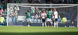 Hibernian's Franck Dja-Djedje after Farid El Alagui hits the side netting.<br /> Hibernian 0 v 1 Falkirk, William Hill Scottish Cup semi-final, played 18/4/2015 at Hamden Park, Glasgow.