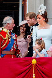 British Royal family on the balcony during celebration of the Trooping the Colour in London, UK, on June 09, 2018. Meghan Duchess of Sussex Princess Meghan Markle and Prince Harry British Royal Family at Trooping the Colour Queen Elizabeth, The Prince of Wales Charles, The Duchess of Cornwall Camilla, The Duke and Duchess of Cambridge, Prince George, Princess Charlotte , Prince Andrew and Princess Anne in London, United Kingdom, trooping the colour , The annual trooping the color is to honor the Queens official birthday. Photo by Robin Utrecht/ABACAPRESS.COM