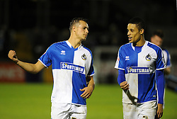 Billy Bodin of Bristol Rovers with Daniel Leadbitter after the win over Wycombe Wanderers - Mandatory byline: Neil Brookman/JMP - 07966 386802 - 06/10/2015 - FOOTBALL - Memorial Stadium - Bristol, England - Bristol Rovers v Wycombe Wanderers - JPT Trophy