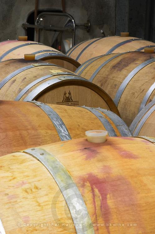 Domaine Entretan, J-C and D Plantade in Roubia. Minervois. Languedoc. Barrel cellar. France. Europe.
