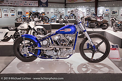 Tom Keefer's retro-rigid custom 1944 Knucklehead in the More Mettle - Motorcycles and Art That Never Quit exhibition in the Buffalo Chip Events Center Gallery during the Sturgis Motorcycle Rally. SD, USA. Wednesday, August 11, 2021. Photography ©2021 Michael Lichter.