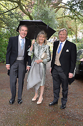 Left & centre, the EARL & COUNTESS ALEXANDER OF TUNIS at the wedding of Princess Florence von Preussen second daughter of Prince Nicholas von Preussen to the Hon.James Tollemache youngest son of the 5th Lord Tollemache held at the Church of St.Michael & All Angels, East Coker, Somerset on 10th May 2014.