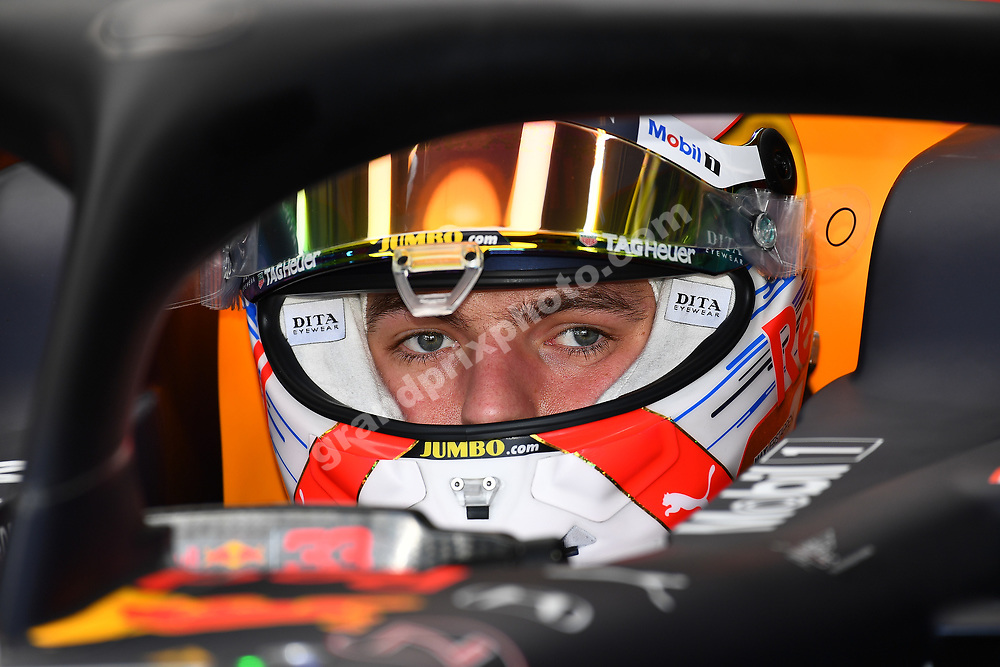 Max Verstappen (Red Bull-Honda) in the pits with his helmet on before the 2019 French Grand Prix at Paul Ricard. Photo: Grand Prix Photo