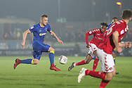 AFC Wimbledon midfielder Dean Parrett (18) dribbling during the EFL Sky Bet League 1 match between AFC Wimbledon and Charlton Athletic at the Cherry Red Records Stadium, Kingston, England on 10 April 2018. Picture by Matthew Redman.