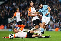 Sergio Aguero of Manchester City is tackled by SerhiyKryvtsov of Shakhtar Donetsk - Mandatory by-line: Matt McNulty/JMP - 26/09/2017 - FOOTBALL - Etihad Stadium - Manchester, England - Manchester City v Shakhtar Donetsk - UEFA Champions League Group stage - Group F