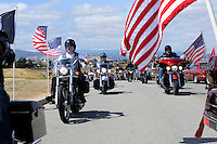 The American Legion Riders District 28 make their entrance to Monday's somber Memorial Day remembrances at the Monterey County Vietnam Veterans Memorial in Salinas.