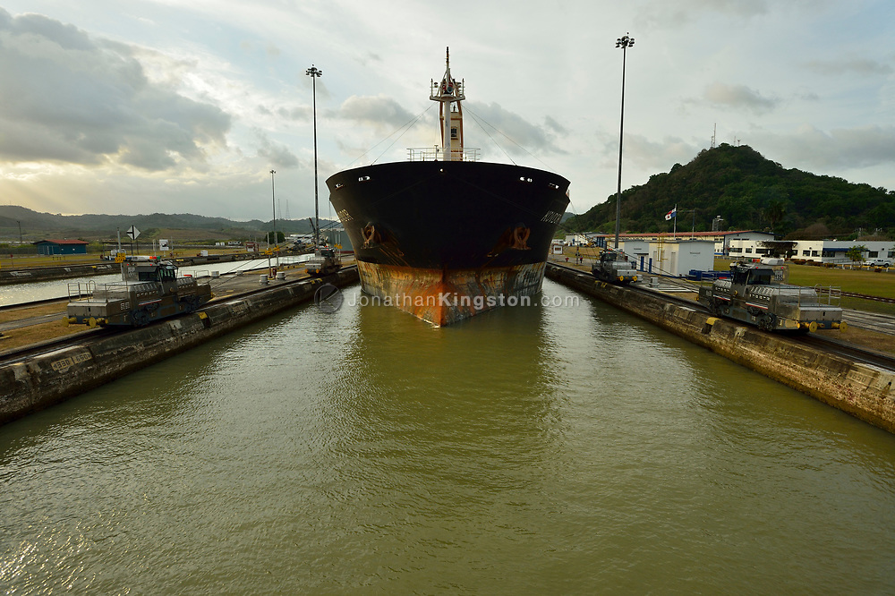 A large commercial freighter enters the Pedro Miguel Locks in the Panama Canal, Panama.