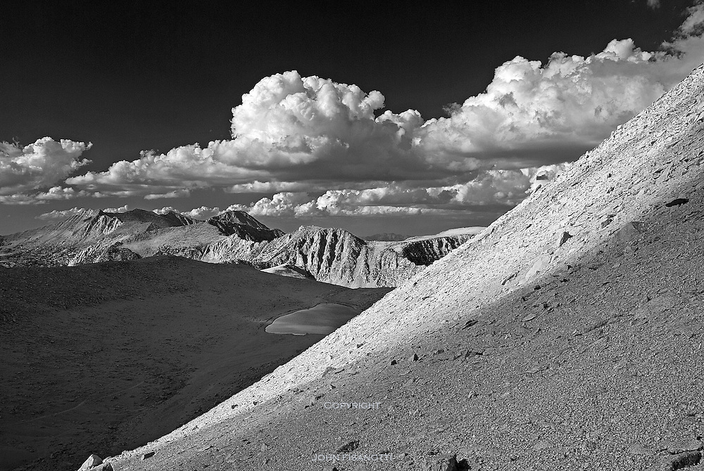 Looking northwest towards Summit Lake from the shoulder of Mt. Starr, above Mono Pass.