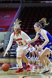 NORMAL, IL - January 06: Kayel Newland guarded by Sammie Bachrodt during a college women's basketball game between the ISU Redbirds and the Drake Bulldogs on January 06 2019 at Redbird Arena in Normal, IL. (Photo by Alan Look)