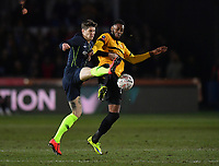 Football - 2018 / 2019 Emirates FA Cup - Fifth Round: Newport County vs. Manchester City<br /> <br /> Manchester City's John Stones battles for possession with Newport County's Jamille Matt, at Rodney Parade.<br /> <br /> COLORSPORT/ASHLEY WESTERN