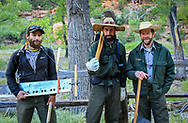 Zion NPS Trail Crew, ready to start their workday. Photo taken May 12, 2016, at Angels Landing trailhead.