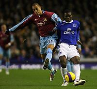 Photo: Paul Thomas.<br /> Everton v West Ham United. The Barclays Premiership. 03/12/2006.<br /> <br /> Joseph Yobo (R) of Everton. Bobby Zamora of West Ham.