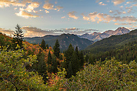 Sunrise over Mount Timpanogos and American Fork Canyon on a cool Fall morning.