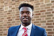 Nottingham Forest midfielder Gboly Ariyibi (21) arrives at the City Ground ahead of the EFL Sky Bet Championship match between Nottingham Forest and Aston Villa at the City Ground, Nottingham, England on 4 February 2017. Photo by Jon Hobley.