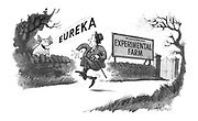 (A walker on a country lane past an experimental farm is surprised by a pig shouting 'Eureka')