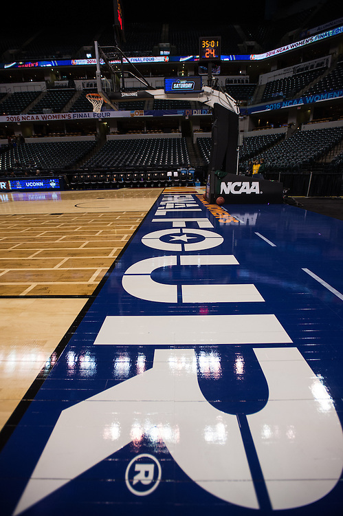 April 2, 2016; Indianapolis, Ind.; A general view of the baseline at Bankers Life Fieldhouse.
