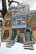 Houses of Outremont covered in snow in Winter, Montreal